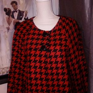 INC. Red and Black Houndstooth Jacket